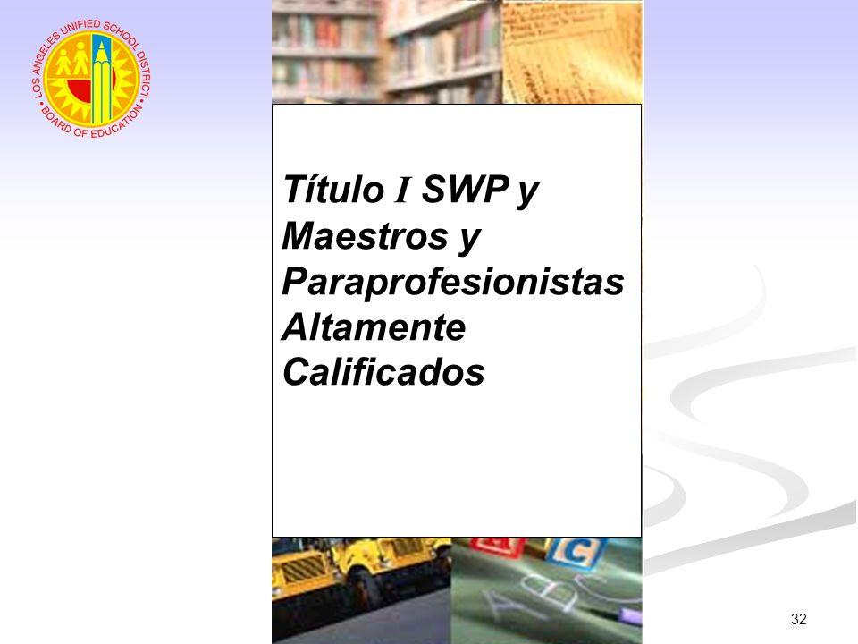 32 Título I SWP y Maestros y Paraprofesionistas Altamente Calificados