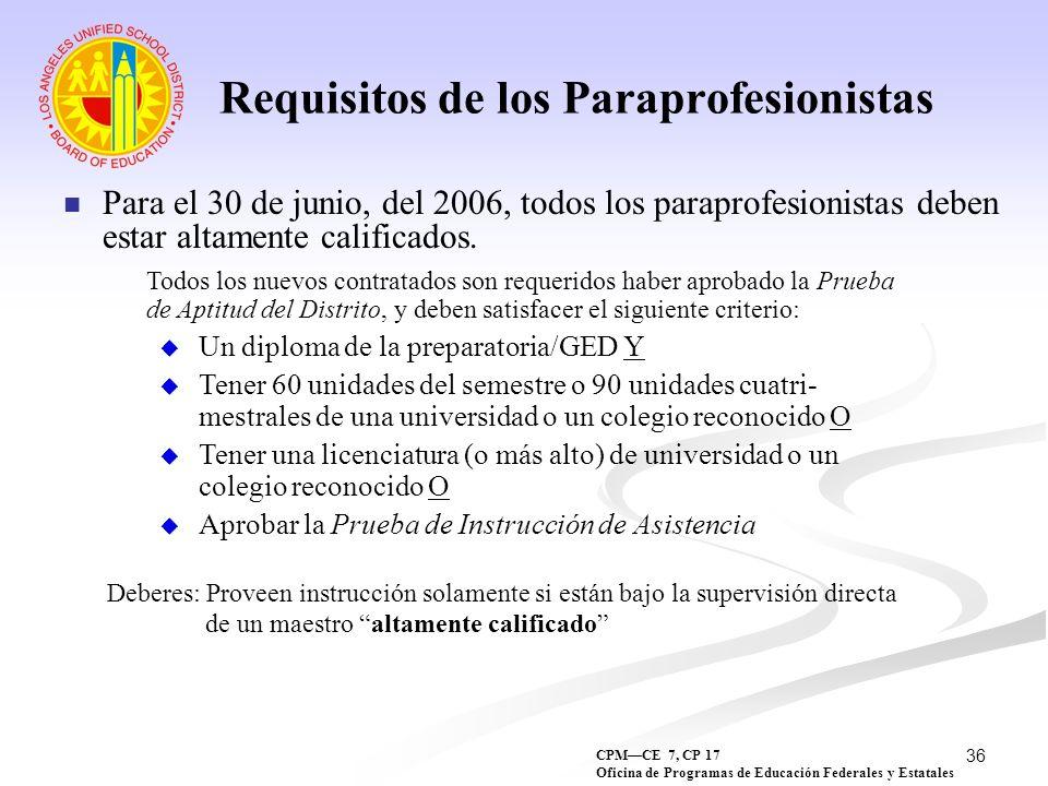 36 Requisitos de los Paraprofesionistas Para el 30 de junio, del 2006, todos los paraprofesionistas deben estar altamente calificados. Sec. 1119 Todos
