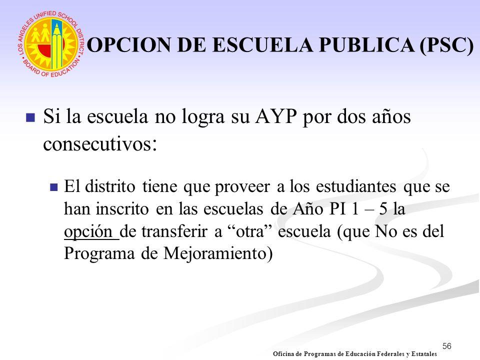 56 OPCION DE ESCUELA PUBLICA (PSC) Si la escuela no logra su AYP por dos años consecutivos : El distrito tiene que proveer a los estudiantes que se ha