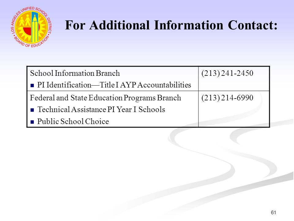 61 School Information Branch PI IdentificationTitle I AYP Accountabilities (213) 241-2450 Federal and State Education Programs Branch Technical Assist