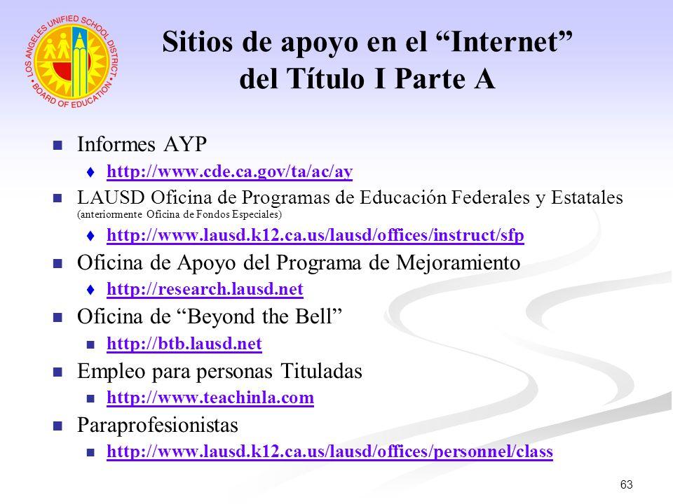 63 Sitios de apoyo en el Internet del Título I Parte A Informes AYP http://www.cde.ca.gov/ta/ac/ay LAUSD Oficina de Programas de Educación Federales y