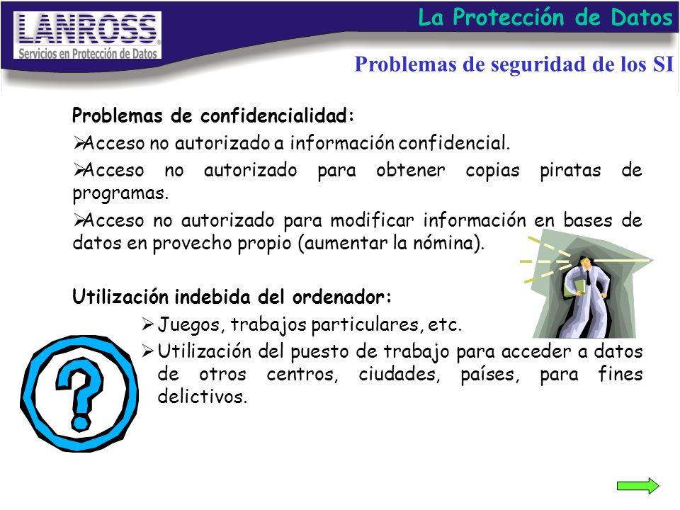 Problemas de confidencialidad: Acceso no autorizado a información confidencial. Acceso no autorizado para obtener copias piratas de programas. Acceso