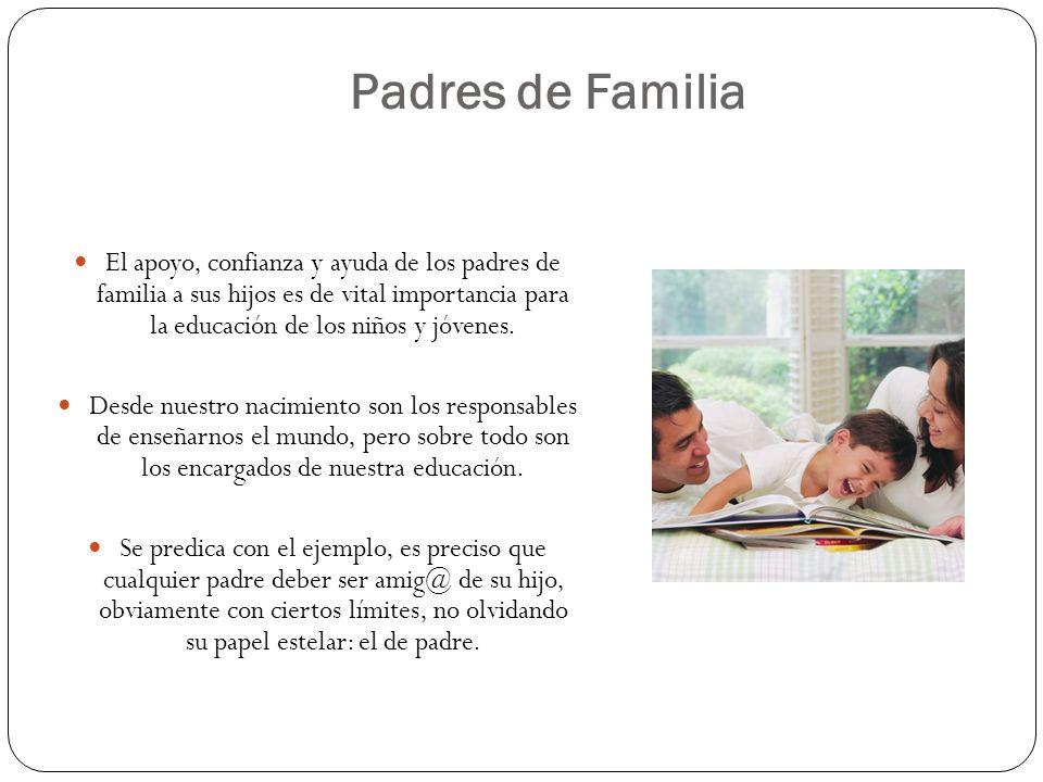 El apoyo, confianza y ayuda de los padres de familia a sus hijos es de vital importancia para la educación de los niños y jóvenes. Desde nuestro nacim