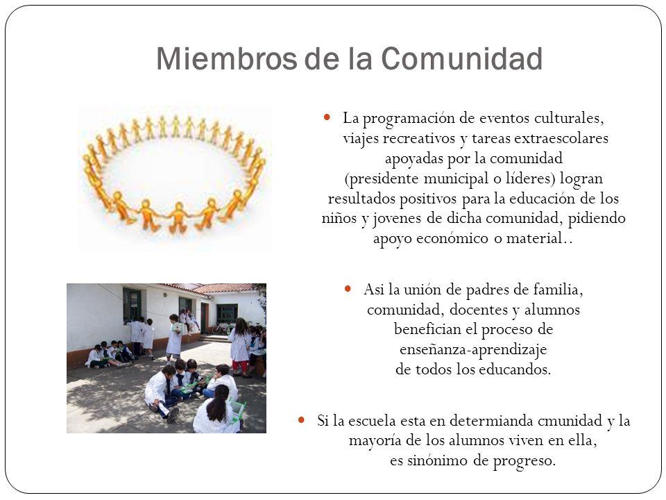 La programación de eventos culturales, viajes recreativos y tareas extraescolares apoyadas por la comunidad (presidente municipal o líderes) logran re