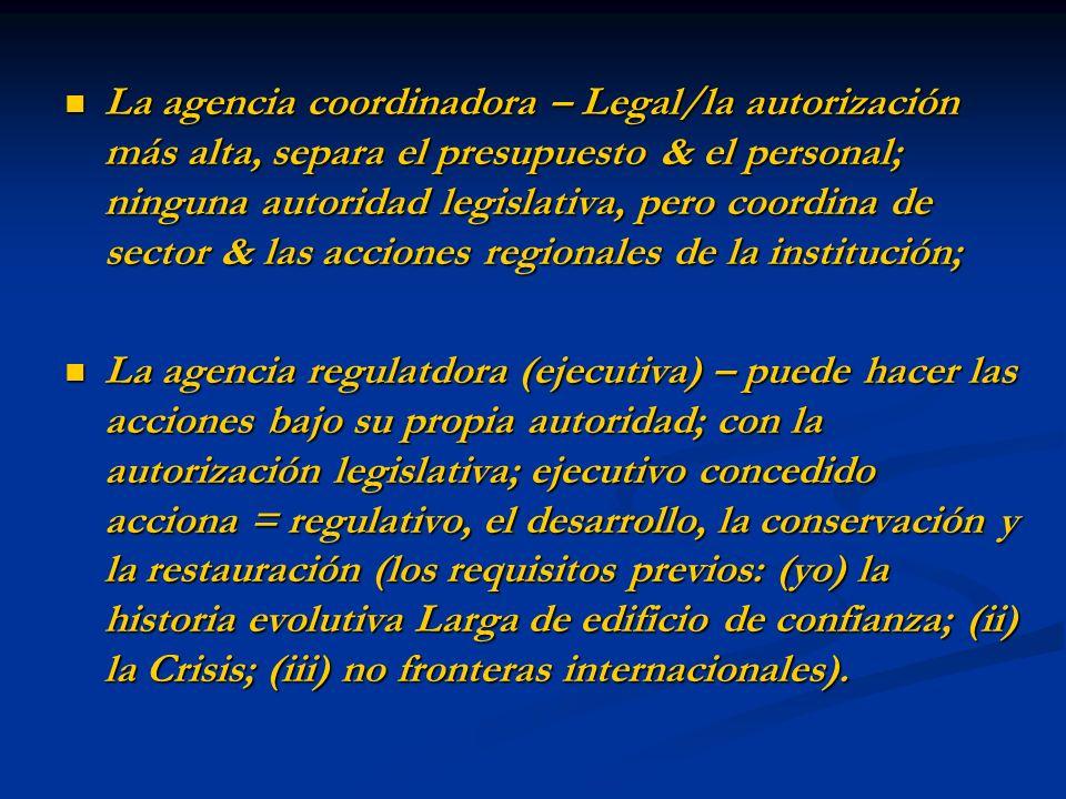 La agencia coordinadora – Legal/la autorización más alta, separa el presupuesto & el personal; ninguna autoridad legislativa, pero coordina de sector