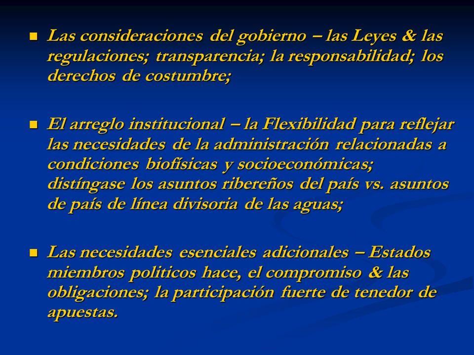 Las consideraciones del gobierno – las Leyes & las regulaciones; transparencia; la responsabilidad; los derechos de costumbre; Las consideraciones del