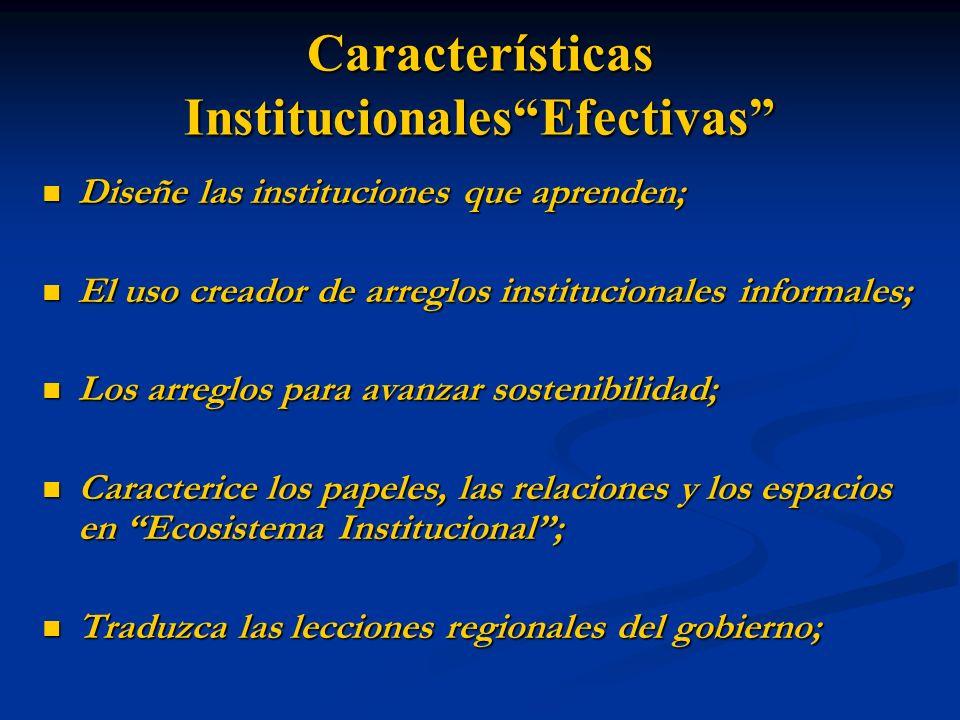 Características InstitucionalesEfectivas Diseñe las instituciones que aprenden; Diseñe las instituciones que aprenden; El uso creador de arreglos inst