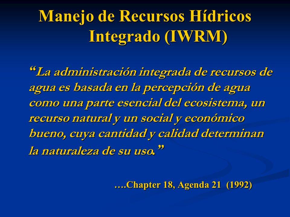 Manejo Integrado de Recursos Hídricos (IWRM) IWRM es un proceso que promueve el desarrollo y la administración coordinados de agua, la tierra y los recursos relacionados para llevar al máximo el resultante económico y la asistencia social en una manera equitativa sin ceder la sostenibilidad de ecosistemas esenciales.