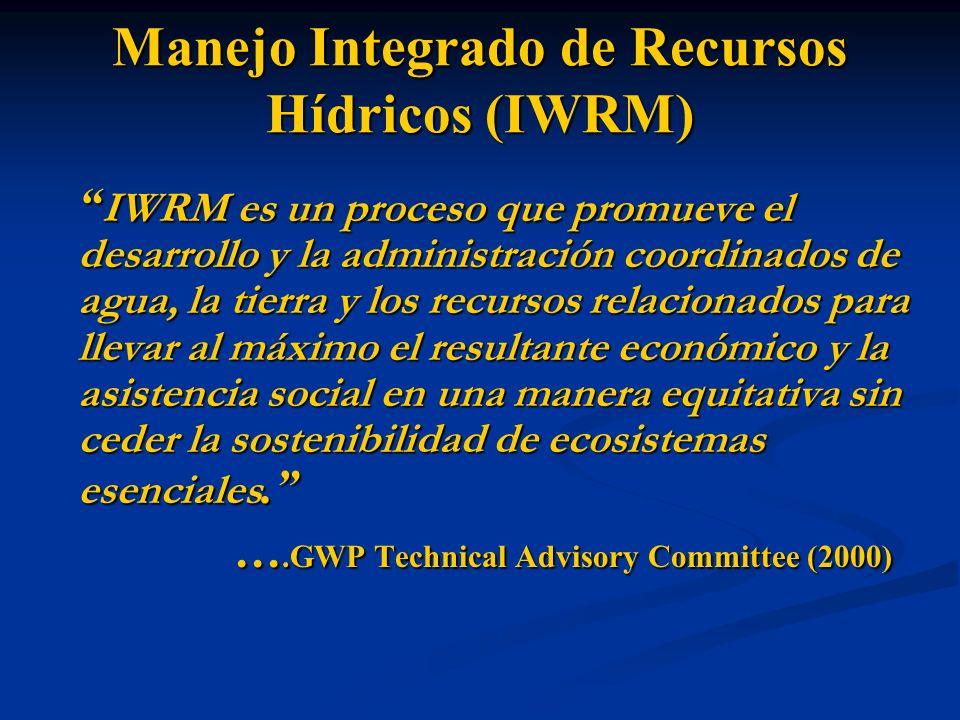 Manejo Integrado de Recursos Hídricos (IWRM) IWRM es un proceso que promueve el desarrollo y la administración coordinados de agua, la tierra y los re