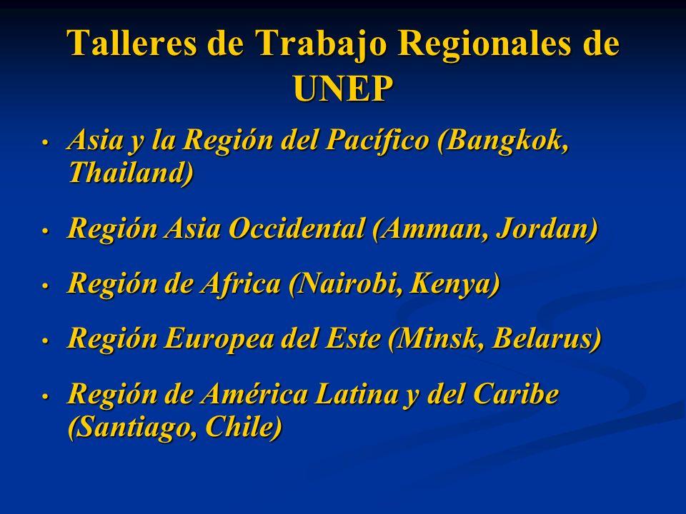 Talleres de Trabajo Regionales de UNEP Asia y la Región del Pacífico (Bangkok, Thailand) Asia y la Región del Pacífico (Bangkok, Thailand) Región Asia