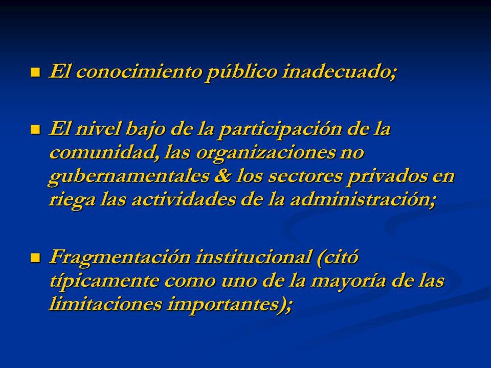 El conocimiento público inadecuado; El conocimiento público inadecuado; El nivel bajo de la participación de la comunidad, las organizaciones no guber