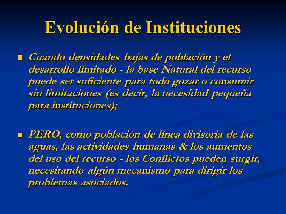 Formas Institucionales Las estructuras de costumbre y comunales – Generalmente para solos sectores (por ejemplo.