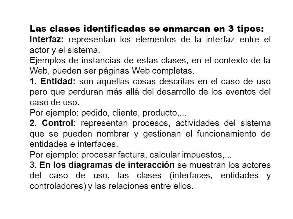 Las clases identificadas se enmarcan en 3 tipos: Interfaz: representan los elementos de la interfaz entre el actor y el sistema. Ejemplos de instancia
