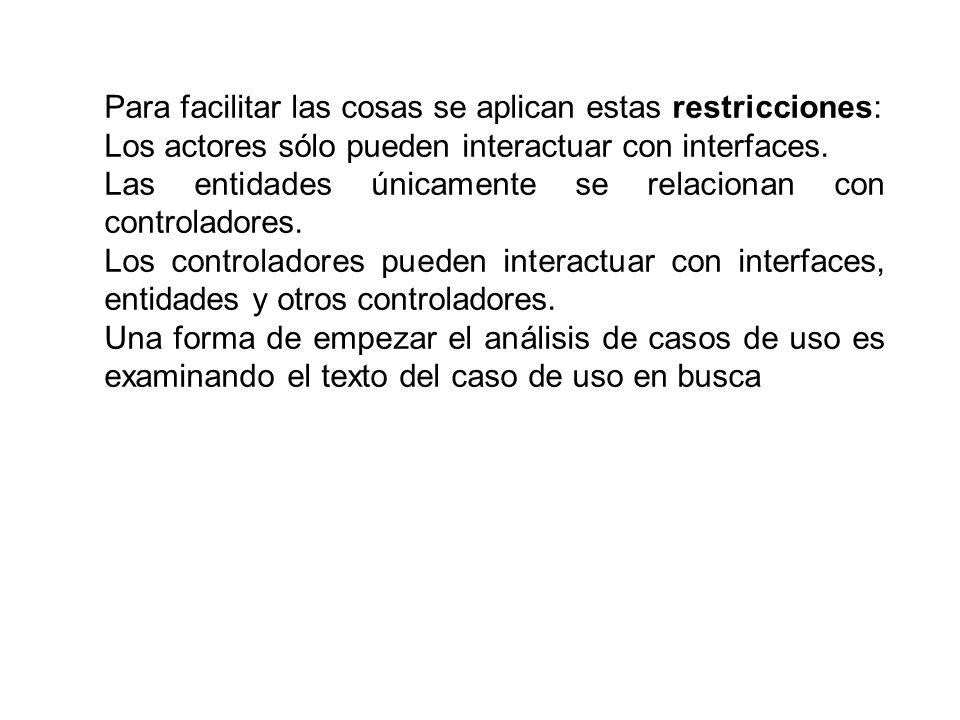 Para facilitar las cosas se aplican estas restricciones: Los actores sólo pueden interactuar con interfaces. Las entidades únicamente se relacionan co
