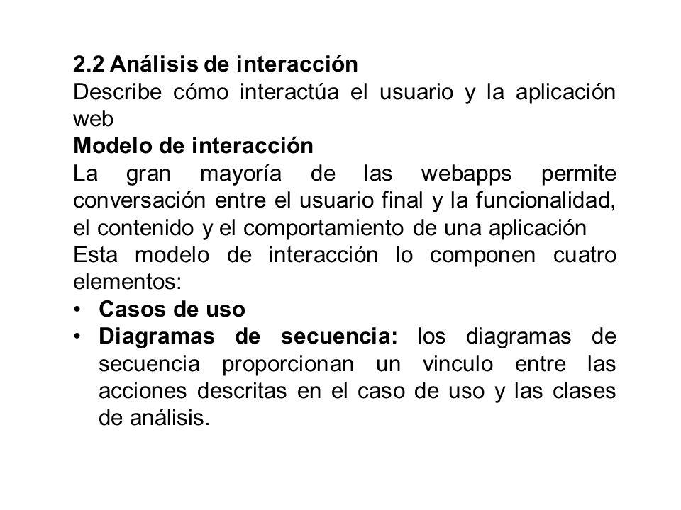 2.2 Análisis de interacción Describe cómo interactúa el usuario y la aplicación web Modelo de interacción La gran mayoría de las webapps permite conve