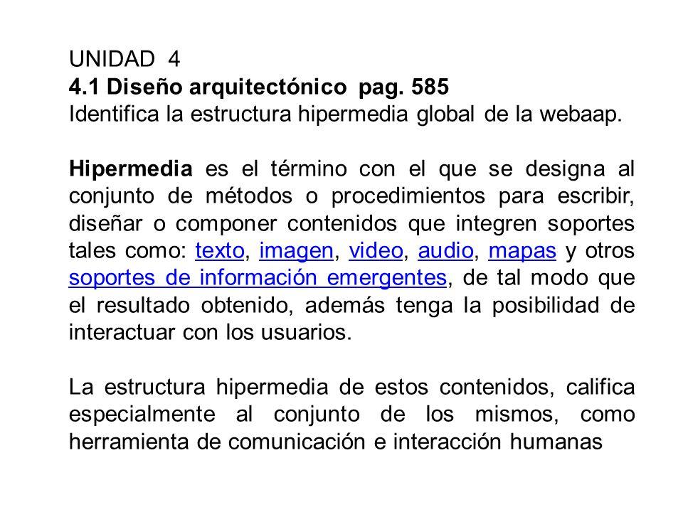 UNIDAD 4 4.1 Diseño arquitectónico pag. 585 Identifica la estructura hipermedia global de la webaap. Hipermedia es el término con el que se designa al