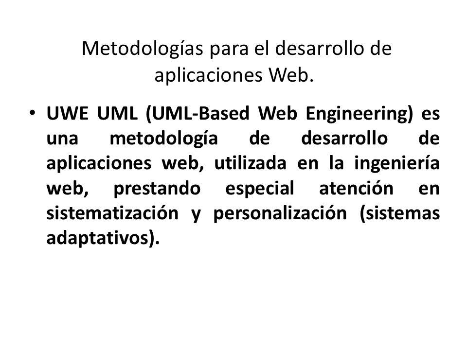 Metodologías para el desarrollo de aplicaciones Web. UWE UML (UML-Based Web Engineering) es una metodología de desarrollo de aplicaciones web, utiliza