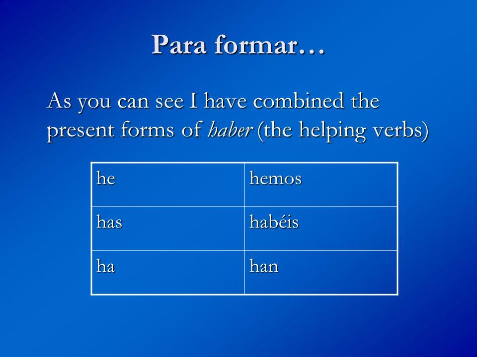 …with the past participle of estudiar hehemos hashabéis hahan estudiado estudiado