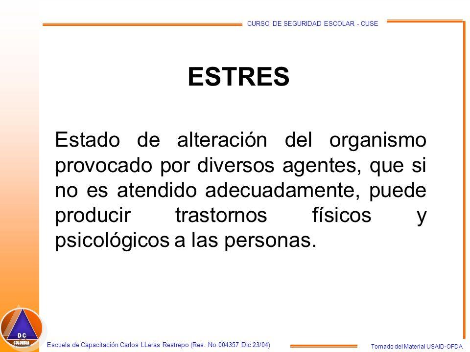 Tomado del Material USAID-OFDA Escuela de Capacitación Carlos LLeras Restrepo (Res. No.004357 Dic 23/04) CURSO DE SEGURIDAD ESCOLAR - CUSE ESTRES Esta