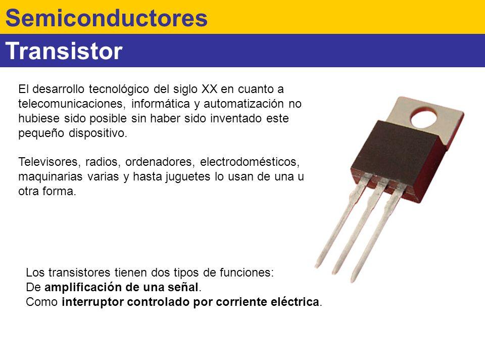 Transistor Semiconductores El desarrollo tecnológico del siglo XX en cuanto a telecomunicaciones, informática y automatización no hubiese sido posible