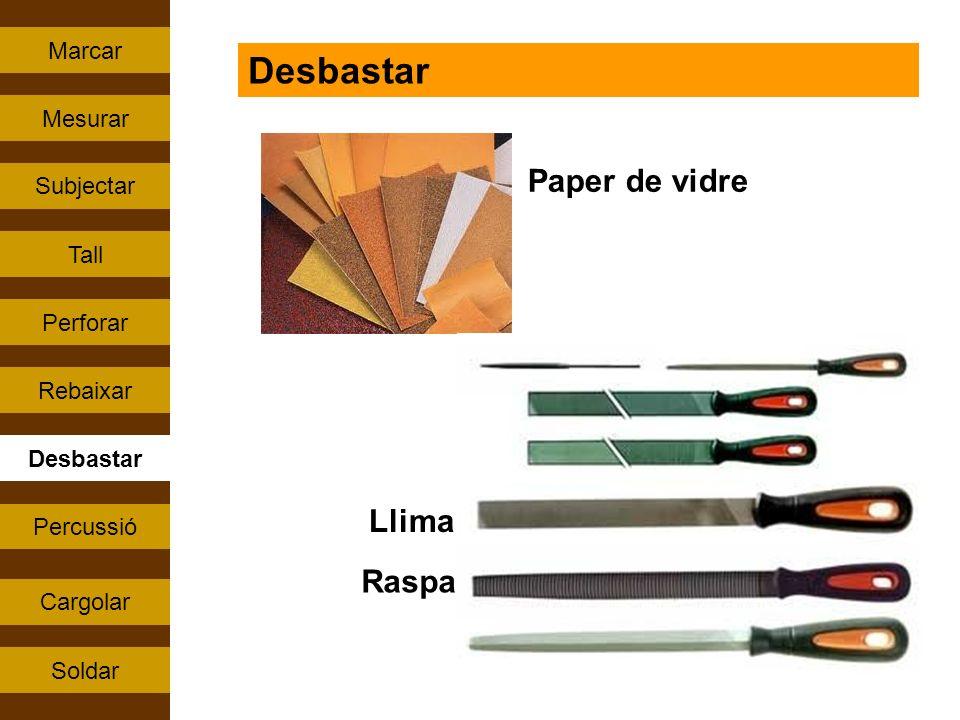 Percussió Tall Rebaixar Perforar Subjectar Cargolar Mesurar Soldar Marcar Desbastar Paper de vidre Llima Raspa