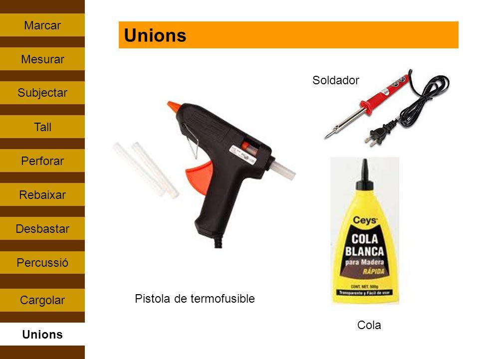 Percussió Tall Rebaixar Perforar Subjectar Cargolar Mesurar Unions Marcar Desbastar Unions Pistola de termofusible Cola Soldador