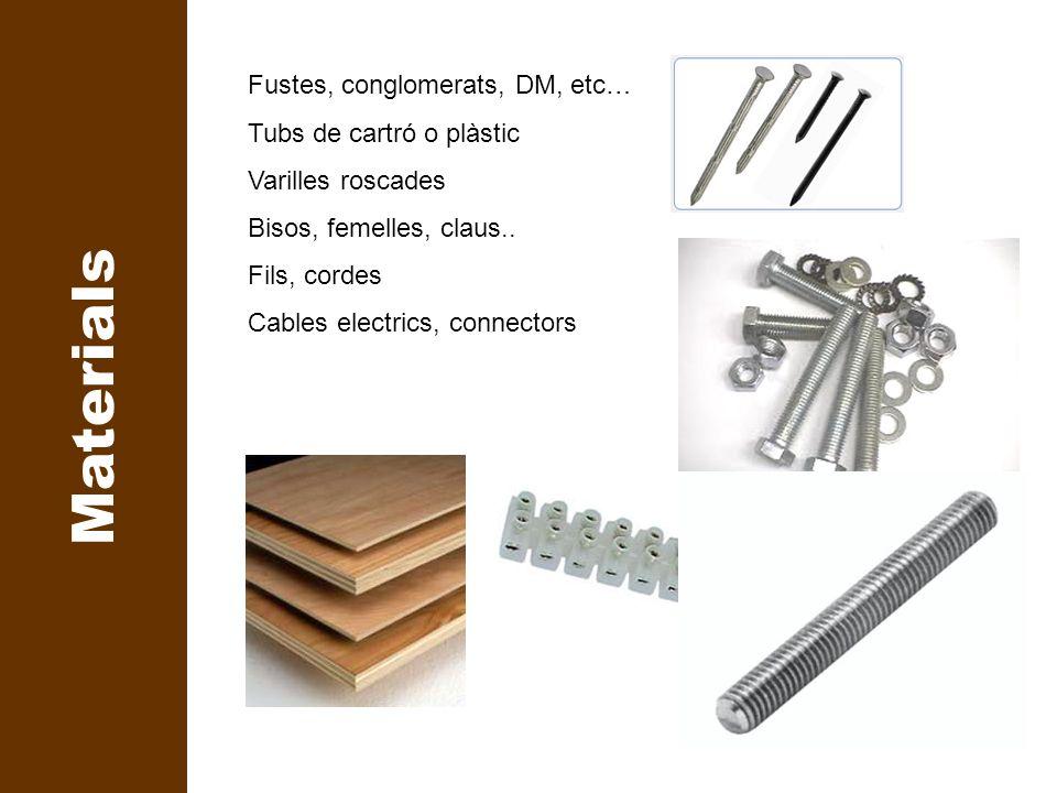 Percussió Tall Rebaixar Perforar Subjectar Cargolar Mesurar Soldar Marcar Desbastar Materials Fustes, conglomerats, DM, etc… Tubs de cartró o plàstic
