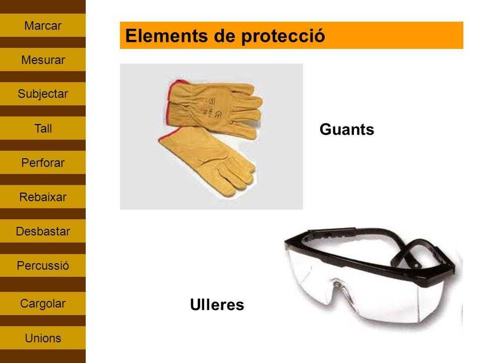 Percussió Tall Rebaixar Perforar Subjectar Cargolar Mesurar Unions Marcar Desbastar Elements de protecció Guants Ulleres
