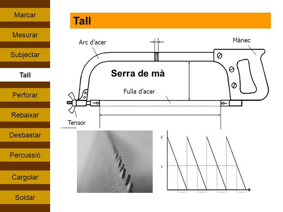 Percussió Tall Rebaixar Perforar Subjectar Cargolar Mesurar Soldar Marcar Desbastar Tall Arc dacer Mànec Tensor Fulla dacer Serra de mà