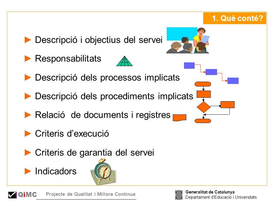 Generalitat de Catalunya Departament dEducació i Universitats QiMC Projecte de Qualitat i Millora Contínua 1.