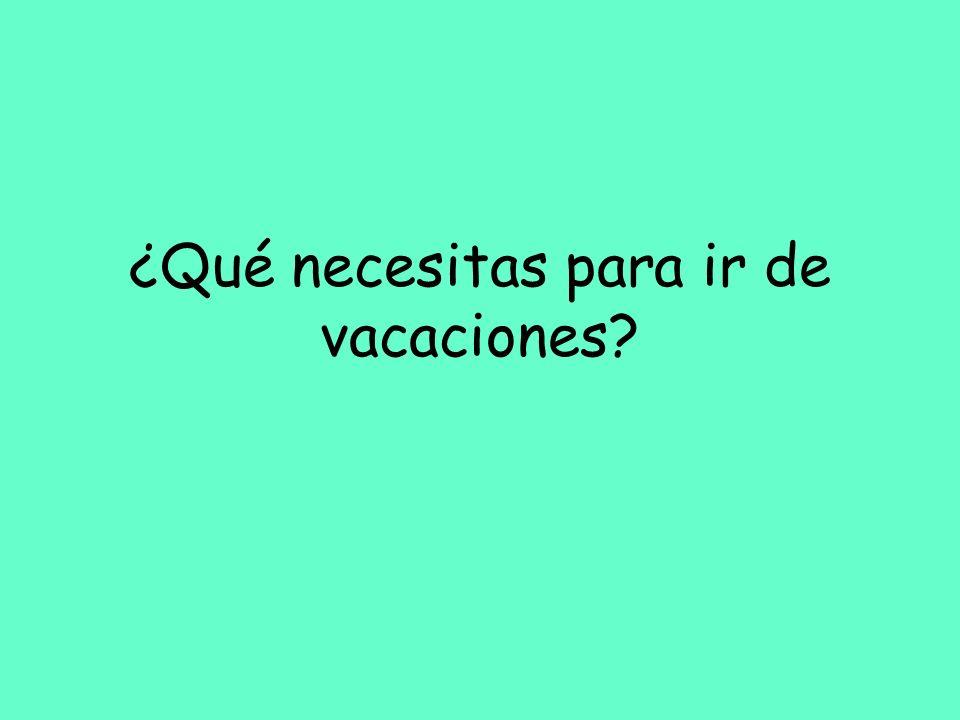 ¿Qué necesitas para ir de vacaciones?