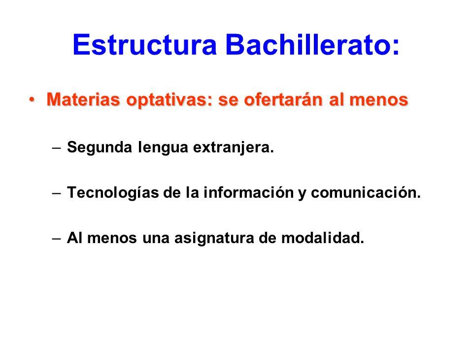 Estructura Bachillerato: Materias optativas: se ofertarán al menosMaterias optativas: se ofertarán al menos –Segunda lengua extranjera. –Tecnologías d