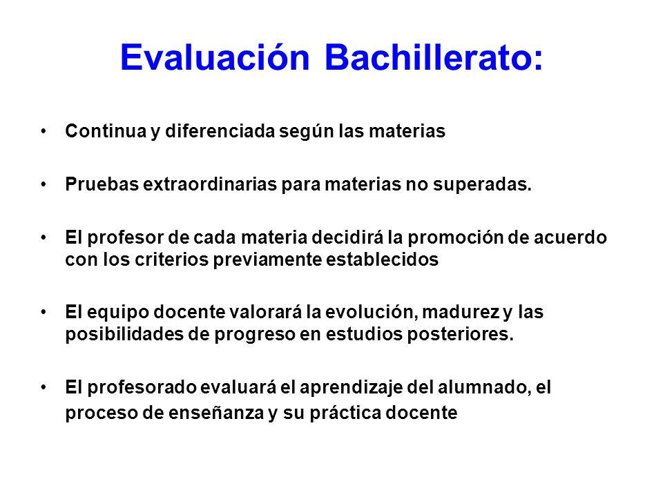 Evaluación Bachillerato: Continua y diferenciada según las materias Pruebas extraordinarias para materias no superadas. El profesor de cada materia de