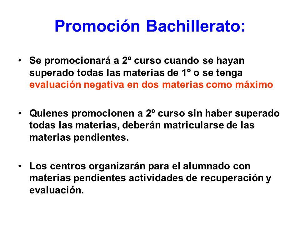Promoción Bachillerato: Se promocionará a 2º curso cuando se hayan superado todas las materias de 1º o se tenga evaluación negativa en dos materias co