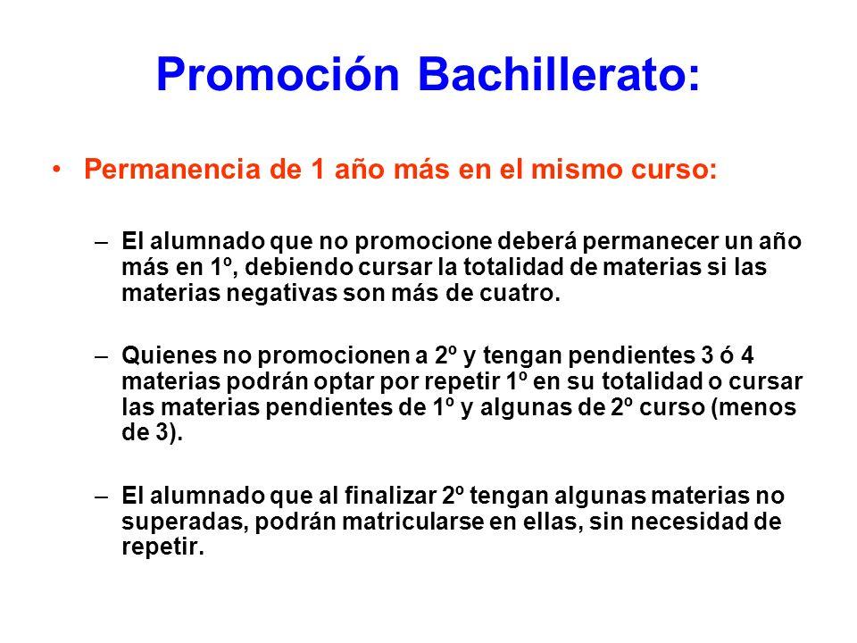 Promoción Bachillerato: Permanencia de 1 año más en el mismo curso: –El alumnado que no promocione deberá permanecer un año más en 1º, debiendo cursar