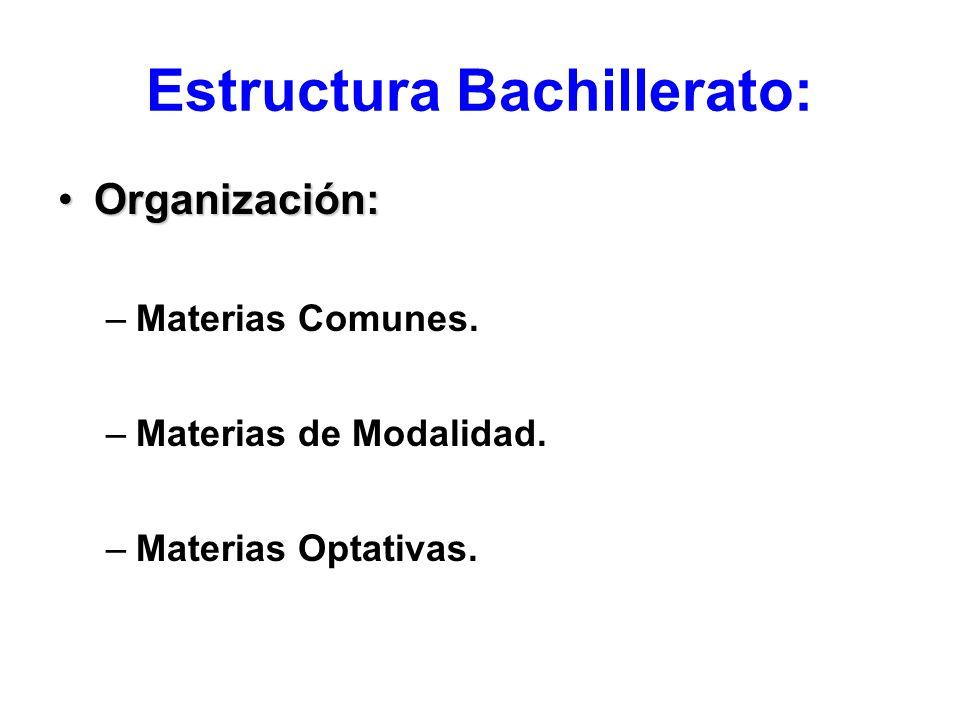 Estructura Bachillerato: Organización:Organización: –Materias Comunes. –Materias de Modalidad. –Materias Optativas.