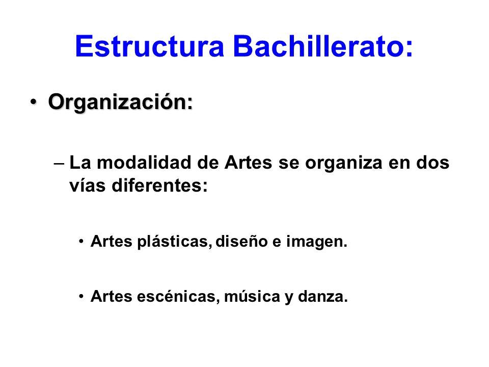 Estructura Bachillerato: Organización:Organización: –La modalidad de Artes se organiza en dos vías diferentes: Artes plásticas, diseño e imagen. Artes