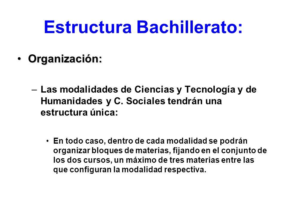 Estructura Bachillerato: Organización:Organización: –Las modalidades de Ciencias y Tecnología y de Humanidades y C. Sociales tendrán una estructura ún