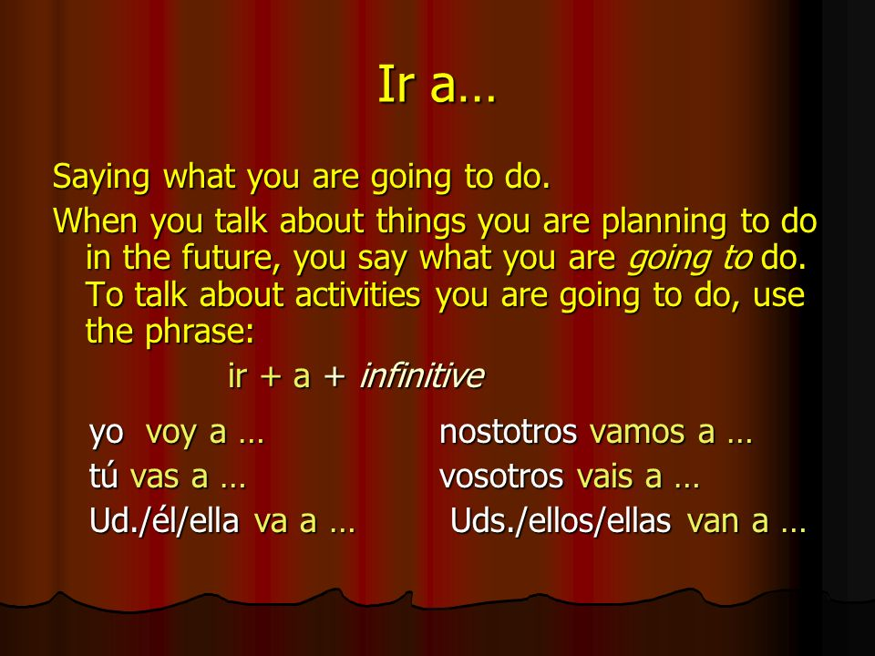 Ir a… Saying what you are going to do.