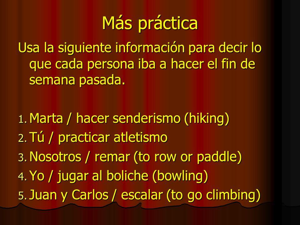 Más práctica Usa la siguiente información para decir lo que cada persona iba a hacer el fin de semana pasada. 1. Marta / hacer senderismo (hiking) 2.