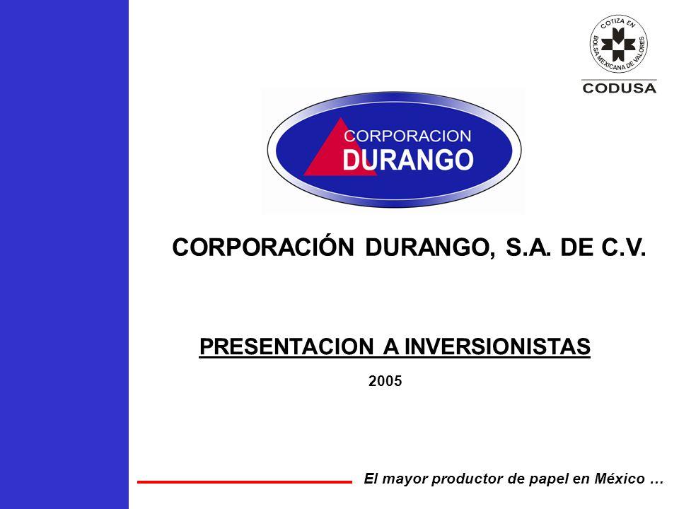 CORPORACIÓN DURANGO, S.A. DE C.V. 2005 El mayor productor de papel en México … PRESENTACION A INVERSIONISTAS