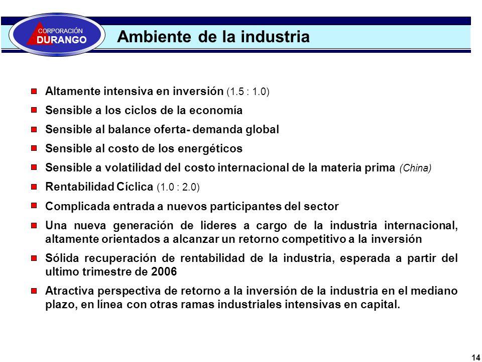 14 Ambiente de la industria CORPORACIÓN DURANGO Altamente intensiva en inversión (1.5 : 1.0) Sensible a los ciclos de la economía Sensible al balance