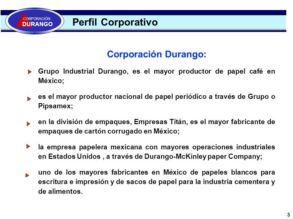 Corporación Durango: Grupo Industrial Durango, es el mayor productor de papel café en México; es el mayor productor nacional de papel periódico a trav
