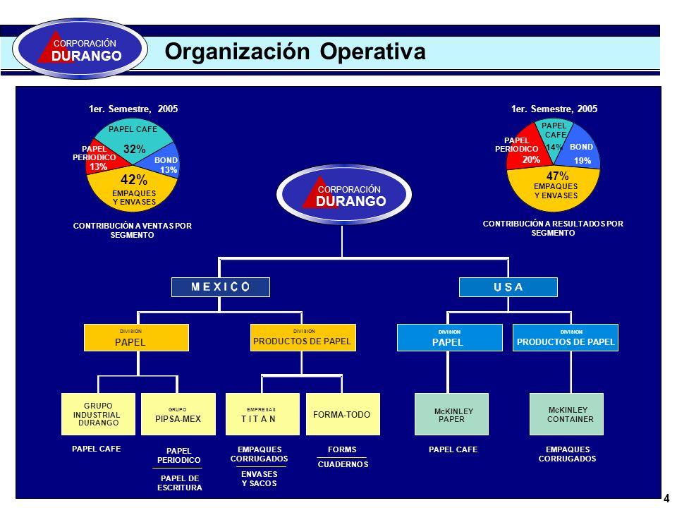 5 La Compañía/ Competidores CORPORACIÓN DURANGO 1,075 CORPORACIÓN DURANGO SMURFIT MEXICO GRUPO COPAMEX KIMBERLY CLARK 935 552 354 O E M 309 GRUPO GONDI 220 Los mayores fabricantes de papel en México EMPAQUES Y ENVASES PAPELES CAFES 809 354 220 GRUPO DURANGO SMURFIT MEXICO GRUPO GONDI PAPEL PERIODICO Y/O ESCRITURA 266 104 PIPSAOEM 609 430 240 TITANSMURFIT MEXICO GRUPO GONDI Miles de Toneladas Métricas PRODUCIÓN 2004 Basada en miles de toneladas de papel producidas en 2004 Fuente: Cámara Nacional de la Industria y Papel