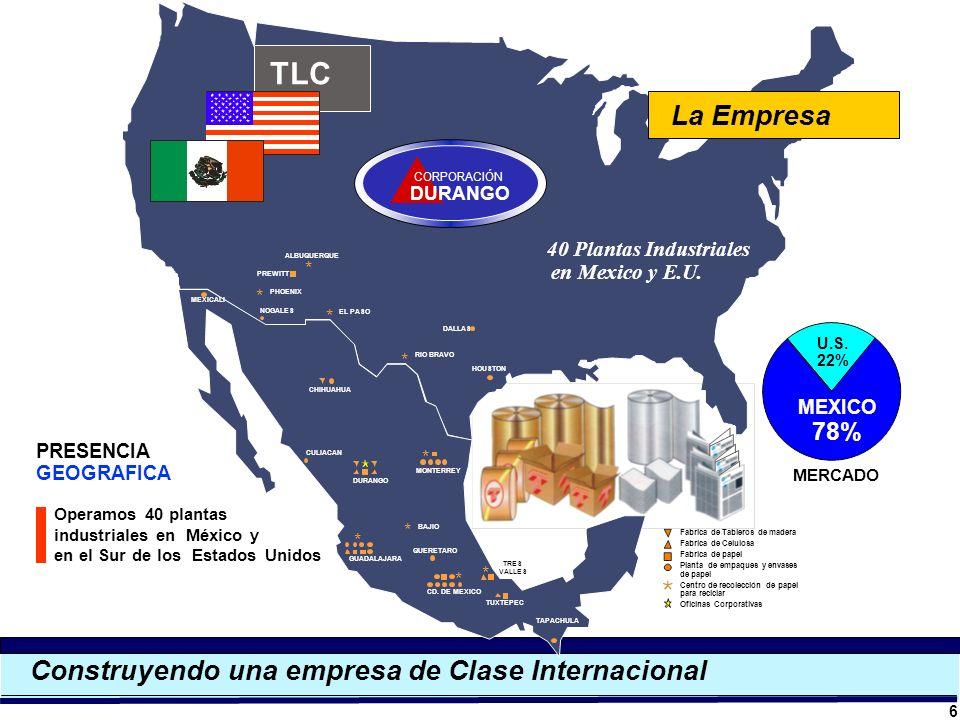 Construyendo una empresa de Clase Internacional Operamos 40 plantas industriales en México y en el Sur de los Estados Unidos 6 MONTERREY DURANGO CULIA