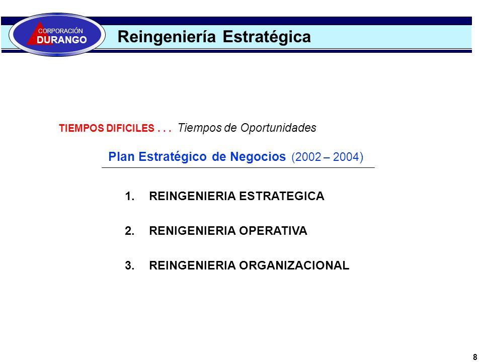 Reingeniería Estratégica Plan Estratégico de Negocios (2002 – 2004 ) 1.REINGENIERIA ESTRATEGICA 2.RENIGENIERIA OPERATIVA 3.REINGENIERIA ORGANIZACIONAL