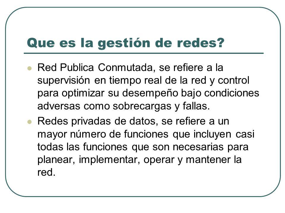 Que es la gestión de redes? Red Publica Conmutada, se refiere a la supervisión en tiempo real de la red y control para optimizar su desempeño bajo con