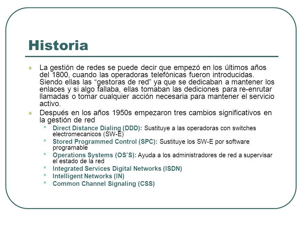 Historia La gestión de redes se puede decir que empezó en los últimos años del 1800, cuando las operadoras telefónicas fueron introducidas. Siendo ell