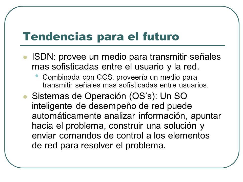 Tendencias para el futuro ISDN: provee un medio para transmitir señales mas sofisticadas entre el usuario y la red. Combinada con CCS, proveería un me