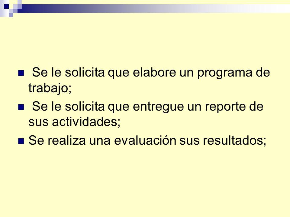 Se le solicita que elabore un programa de trabajo; Se le solicita que entregue un reporte de sus actividades; Se realiza una evaluación sus resultados;